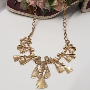 Unique Gold tone with Pink Crystal Necklace